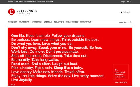 Screenshot of Home Page letternote.com - LetterNote - Product Design Brand | Corporate Gifts Company - captured Sept. 19, 2014