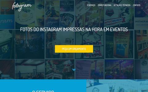 Screenshot of Home Page fotogram.us - Fotogram - Fotos do Instagram Impressas na Hora em Eventos - captured Sept. 11, 2015