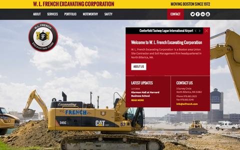 Screenshot of Home Page wlfrench.com - W. L. French Excavating Corporation | Site Development | Soil Management - captured Jan. 21, 2016