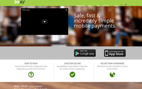 Screenshot of Home Page paay.co - PAAY | Payments Simplified & Secured - captured July 3, 2015