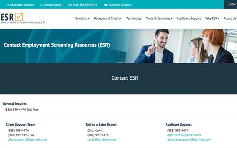 Screenshot of Support Page esrglobalscreening.com - ESR Contact Us - captured Feb. 16, 2018