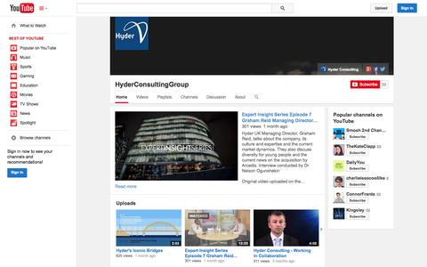 Screenshot of YouTube Page youtube.com - HyderConsultingGroup  - YouTube - captured Oct. 26, 2014