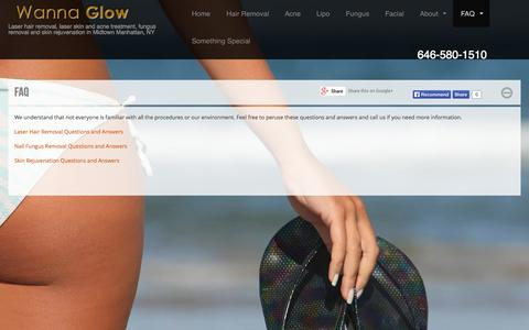 Screenshot of FAQ Page wannaglow.com - FAQ | Wanna Glow - Laser hair removal and laser skin treatment in Midtown Manhattan, New York - captured Oct. 27, 2014