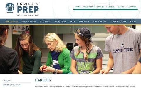 Screenshot of Jobs Page universityprep.org - Careers - University Prep - captured Sept. 20, 2018