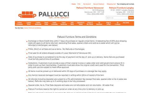 Screenshot of Terms Page palluccifurniture.ca - Terms and Conditions | - captured Oct. 1, 2014