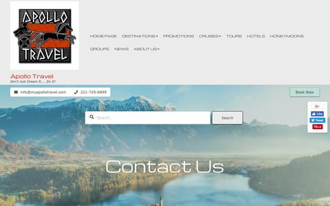 Screenshot of Contact Page myapollotravel.com - Contact | Apollo Travel - captured Oct. 3, 2018