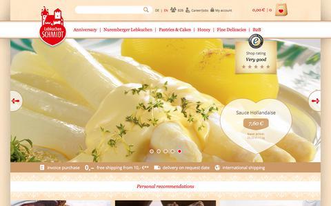 Screenshot of Home Page lebkuchen-schmidt.com - Lebkuchen Schmidt | Original Nürnberger Lebkuchen purchase online - captured July 1, 2017
