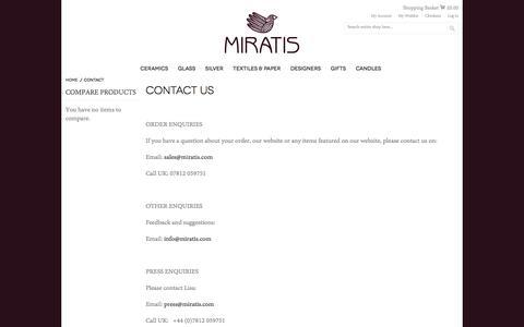Screenshot of Contact Page miratis.com - Contact | Miratis - captured Oct. 20, 2017