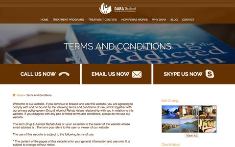 Screenshot of Terms Page dararehab.com - Terms and Conditions | DARA Rehab Asia - captured Sept. 30, 2014