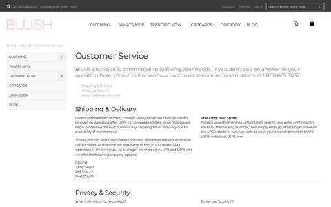 Screenshot of Support Page shopblush.com - BLUSH - Customer Service - captured Oct. 4, 2018