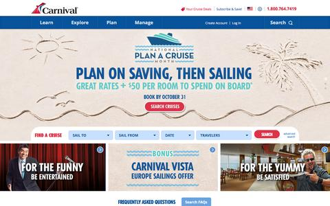 Screenshot of Home Page carnival.com - Cruises | Carnival Cruise Deals: Caribbean, Bahamas, Alaska, Mexico - captured Oct. 16, 2015