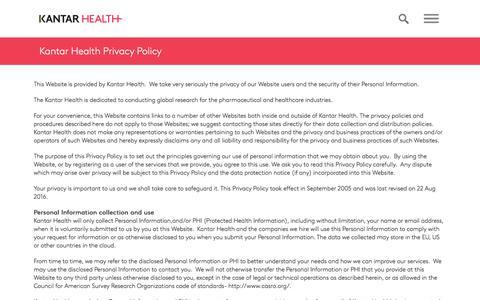 Privacy Policy | Kantar Health