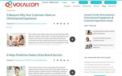 Screenshot of Blog vocalcom.com - Contact Center Blog - Tips, Resources, Guides and Articles - Page 7 - captured Jan. 14, 2019