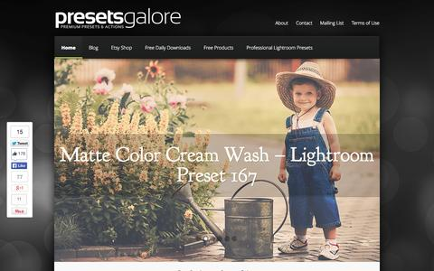 Screenshot of Home Page presetsgalore.com - Presets Galore | Free Premium Lightroom Presets - Photoshop Actions - captured Sept. 18, 2014