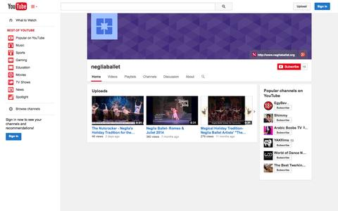Screenshot of YouTube Page youtube.com - negliaballet  - YouTube - captured Oct. 26, 2014
