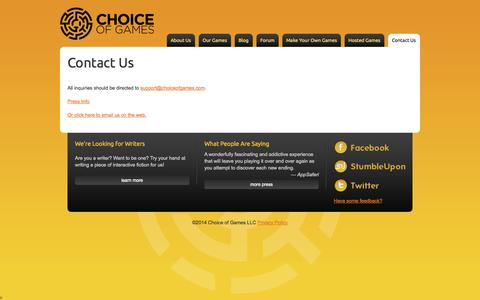 Screenshot of Contact Page choiceofgames.com - Contact Us - Choice of Games LLC - captured Oct. 28, 2014