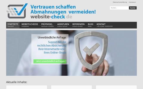Screenshot of Home Page website-check.de - Website-Check.de Gütesiegel - Online-Shop Abmahnungen vermeiden - Rechtssichere Internetseiten - website-check.de - captured Sept. 12, 2015