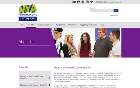 Screenshot of About Page nya.org.uk - About the National Youth Agency - captured Oct. 6, 2014