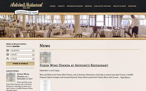 Screenshot of Press Page antoines.com - News | Antoine's Restaurant - captured Oct. 8, 2017