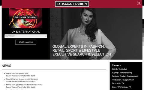 Screenshot of Press Page talismanfashion.com - News   Executive Search Fashion, Retail, Sport - captured Sept. 20, 2018