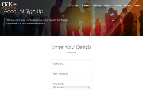 Screenshot of Signup Page oak.co.uk - Oak Account Sign Up | Oak Innovation - captured Oct. 4, 2018