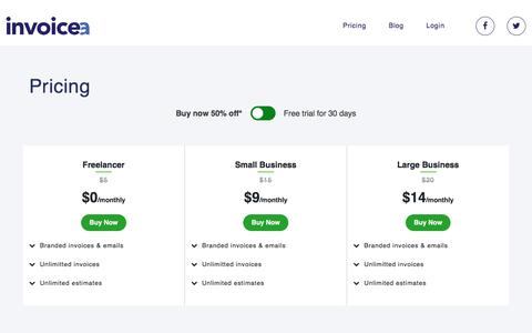 Screenshot of Pricing Page invoicea.com - Pricing – Invoicea - captured Aug. 30, 2019