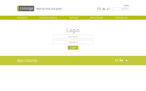 Screenshot of Login Page cossiga.com - Login | Cossiga - captured Oct. 3, 2014