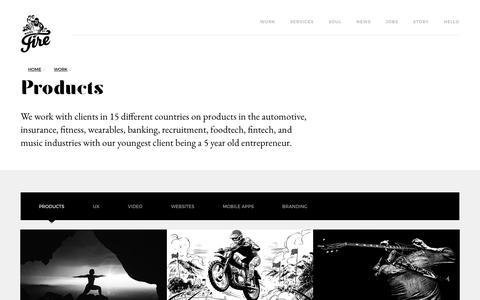 Screenshot of Products Page madebyfire.com - Fiternity | Digital Product Design Agency | Web Design Agency | Digital Marketing Agency - captured July 9, 2018