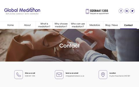 Screenshot of Contact Page globalmediation.co.uk - Contact - Global Mediation - captured July 19, 2018
