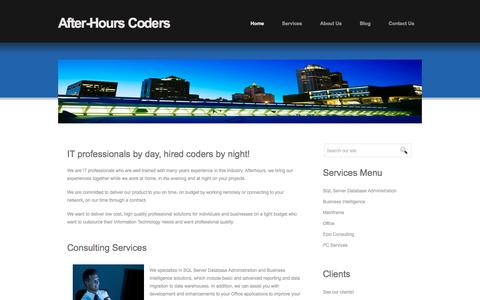 Screenshot of Home Page afterhourscoders.com - Welcome to AfterHoursCoders.com - IT professionals by day, hired coders by night! SQL Server DBA, Business Intelligence and Reporting Consulting Services - captured Feb. 5, 2016
