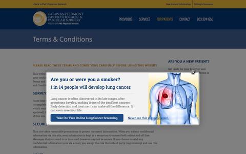 Screenshot of Terms Page catawbacardiothoracic.com - Terms & Conditions - Catawba-Piedmont Cardiothoracic & Vascular Surgery - captured Feb. 8, 2016