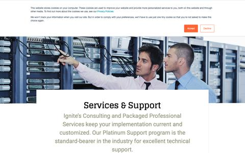 Screenshot of Services Page ignitetech.com - Ignite Technologies :: Services and Support - captured Oct. 11, 2018
