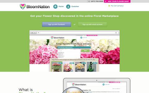 Screenshot of Signup Page bloomnation.com - Free florist websites, marketing and POS - join BloomNation - captured Sept. 13, 2014