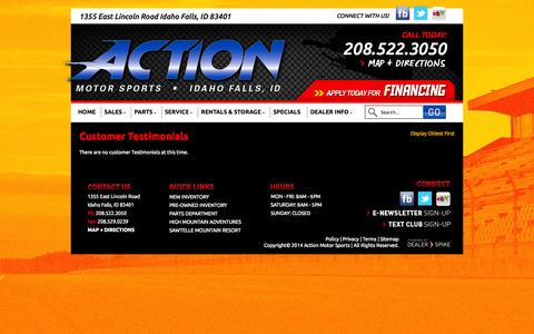 Screenshot of Testimonials Page actionmotor.com - Testimonials | Action Motor Sports | Idaho Falls - captured Oct. 4, 2014