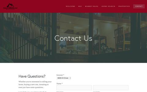 Screenshot of Contact Page canyonsrealty.net - Contact — Canyons Realty - captured Oct. 20, 2016