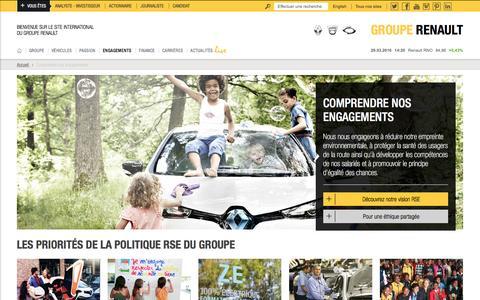 Screenshot of renault.com - Les engagements du groupe Renault - captured March 29, 2016