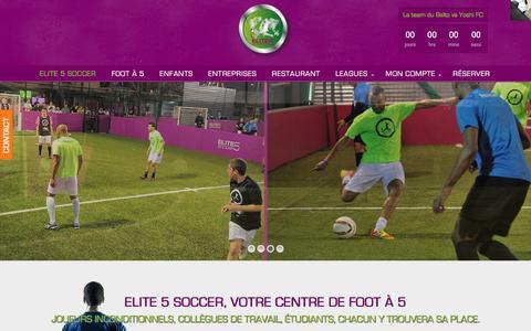 Screenshot of Home Page elite5soccer.com - Elite 5 soccer, votre centre de foot à 5 haut de gamme à Nanterre - captured July 17, 2018