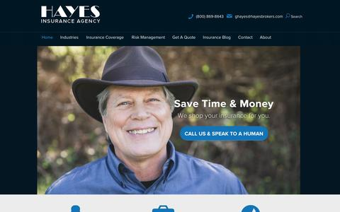 Screenshot of Home Page hayesbrokers.com - Hayes Insurance Brokers | California Business Insurance - captured Jan. 27, 2016