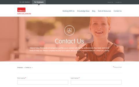 Screenshot of Contact Page adeccousa.com - Contact Adecco - Employers | Adecco Contact Form - captured Nov. 2, 2014