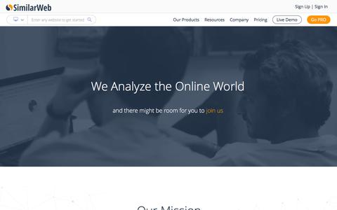 Screenshot of About Page similarweb.com - About SimilarWeb – Our Mission and History - captured March 1, 2016