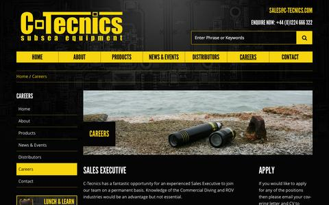Screenshot of Jobs Page c-tecnics.com - Careers - C-Tecnics - Subsea Equipment and Electronics - captured Sept. 26, 2014