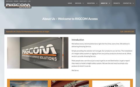 Screenshot of About Page rigcomaccess.com - About Us � Welcome to RIGCOM Access | RIGCOM Access - captured Jan. 11, 2016