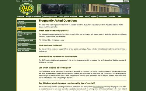 Screenshot of FAQ Page gwsr.com - GWR - Gloucestershire's mainline heritage railway - FAQs - captured Oct. 3, 2014