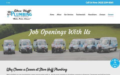 Screenshot of Jobs Page stevehuffplumbing.com - Steve Huff Plumbing Staff - Licensed TN and VA Plumbing Contractor - captured Oct. 18, 2018