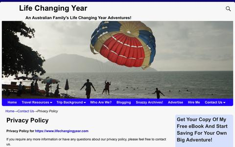 Screenshot of Privacy Page lifechangingyear.com - Privacy Policy - Life Changing Year - captured Oct. 19, 2018