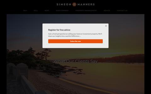 Screenshot of Testimonials Page simeonmanners.com.au - What Our Clients Say - captured Oct. 20, 2018