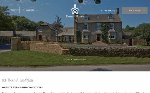 Screenshot of Terms Page dormyhouse.co.uk - Terms & Conditions - Dormy House Hotel & Spa - captured Oct. 9, 2018