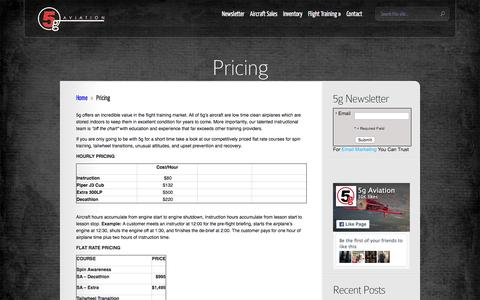 Screenshot of Pricing Page fly5g.com - Pricing | 5g Aviation - captured Feb. 17, 2016