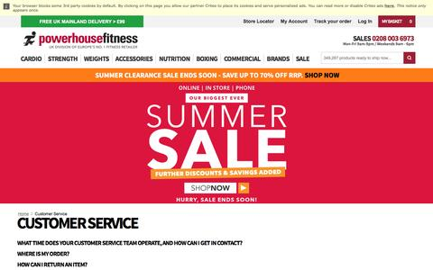 Screenshot of Support Page powerhouse-fitness.co.uk - Customer Service at Powerhouse Fitness - captured July 17, 2016