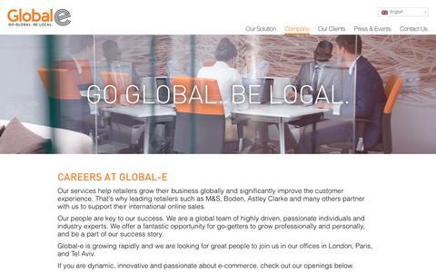 Screenshot of Jobs Page global-e.com - Careers at Global-e - Global-e - captured Nov. 9, 2016